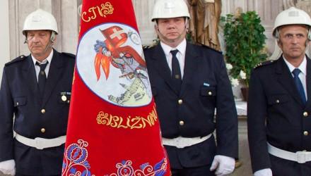 Slavnostní vyšívaný hasičský prapor a stuha