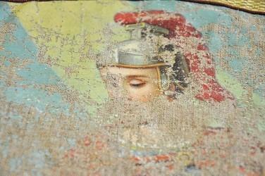Detail - malba svatého Floriána, revers historického praporu