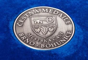 Detail pamětní mince vyhotovené pro MČ Brno - Bohunice.