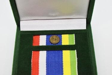 Detail klopové stužky záslužné medaile.
