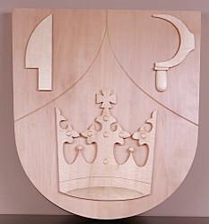 Dřevěný znak vyřezávaný pro obce a města