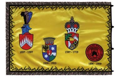 Zadní strana vyšívané saténové vlajky  - pivovar Černá hora
