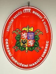 Smaltovaná hasičská oválová cedule se znakem SH ČMS a s velkým státním znakem
