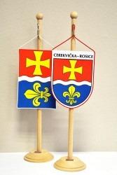 Saténové tištěné stolní vlaječky vyhotovené pro obec Cerekvička-Rosice