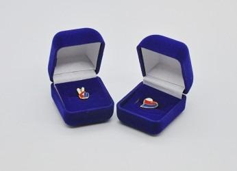 Trikolórové odznaky uložené v sametové dárkové krabičce.