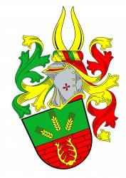 Občanský heraldický znak pana Stanislava Kasla, ve kterém je vyobrazena symbolika stavební firmy