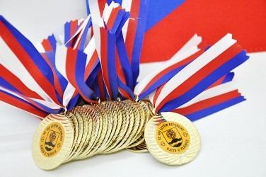 Pamětní medaile s trikolórovou stužkou.