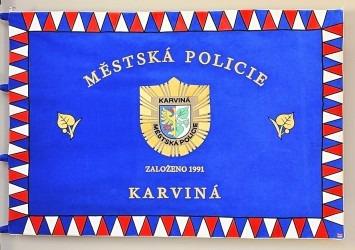 Slavnostní vyšívaný prapor městské policie Karviná