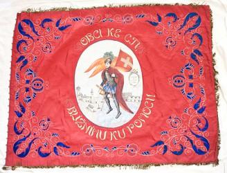 Zadní strana historického praporu SDH Dačice