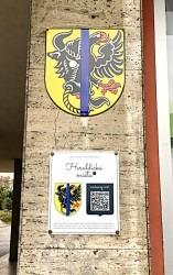 Ukázka vyhotovení smaltované cedule s QR kódem pro město Bystřice nad Pernštejnem.