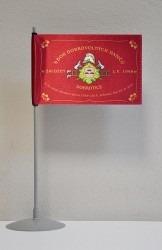 Tištěná hasičská stolní vlaječka na nasunutí na stojánek, avers