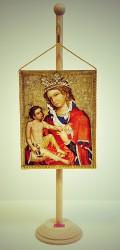 Ikonická malba Madony z Veveří v podobě stolní vlaječky
