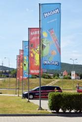 Reklamní tištěné vlajky pro společnost Haribo