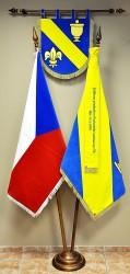 Vyšívaný znak, vlajka,stuha, sametová vlajka ČR, zakázka pro obec.