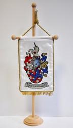 Ukázka realizace osobního znaku, vyšívaná stolní vlaječka
