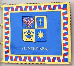 Slavnostní prapor vyhotovený pro rotu aktivních záloh Krajského vojenského velitelství Zlín.