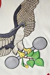 Detail umělecko-řemeslné výšivky sokola s rozepjatými křídly.