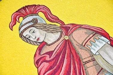 Detail výšivky - svatý Florián, replika praporu SDH Novosedly