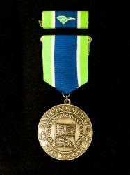 Záslužná medaile na závěsné stuze s klopovou stužkou.