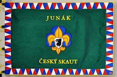 Vyšívaná prapor Junák - český skaut