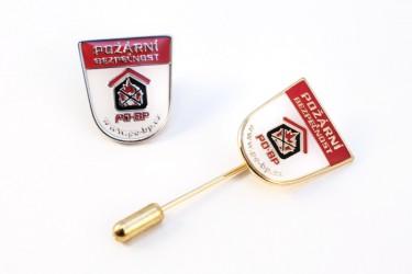 Ukázka provedení odznaků, uchycení jehla a bezpečnostní pin