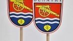 Saténové stolní vlaječky vyhotovené pro obec Benátky