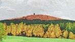 Detail ruční výšivky sokolského praporu.
