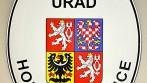 Smaltovaný ovál s velkým státním znakem ČR, a textem - OBECNÍ ÚŘAD HORNÍ RADSLAVICE
