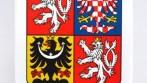 Stolní vlaječka v podobě velkého státního znaku ČR, stojánek