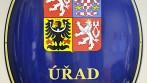 Smaltovaný ovál s velkým státním znakem ČR a nápisem - ÚŘAD MĚSTYSE