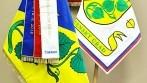 Vyšívané symboly obce Lipec - znak ve velkém provedení, standarta starosty, slavnostní vlajka a pamětní stuha mašličková.