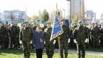 Praporu vyhotovený pro rotu aktivních záloh Krajského vojenského velitelství Zlín.