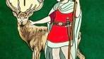 Výšivka slavnostního mysliveckého praporu - postava sv. Huberta