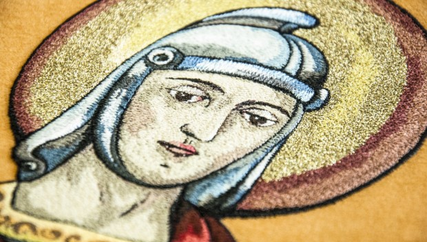 Výšivka svatého Floriána z praporu SDH Chlebičov